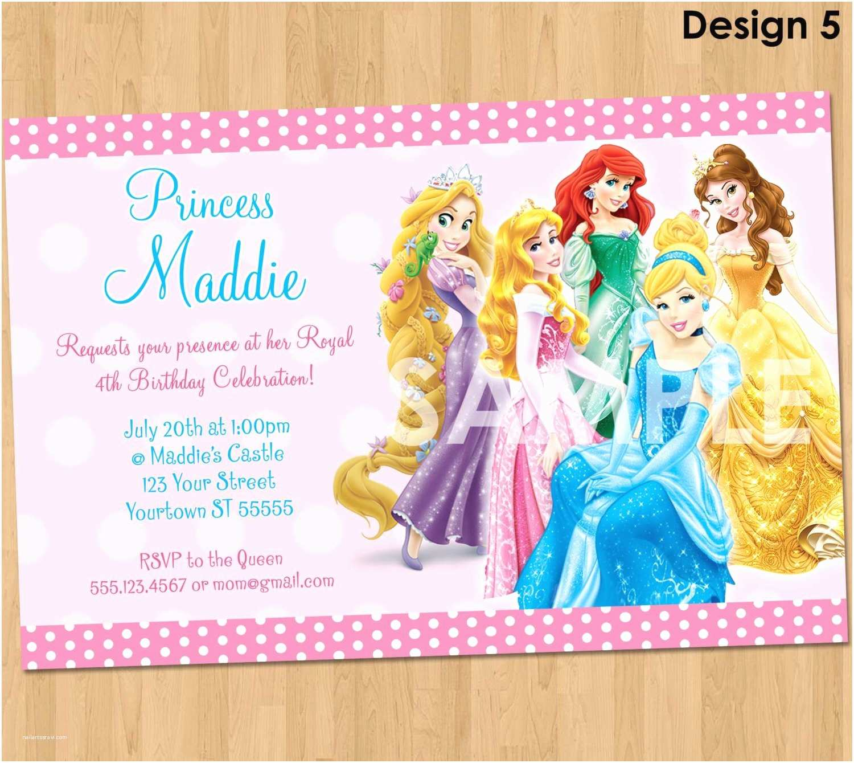 Disney Birthday Invitations Birthday Invitation Card Disney Princesses Birthday