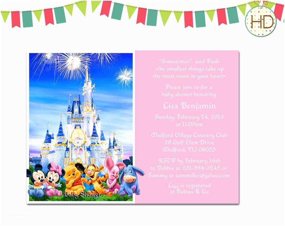 Disney Birthday Invitations Disney Baby Shower Invitation Disney Castle Baby by