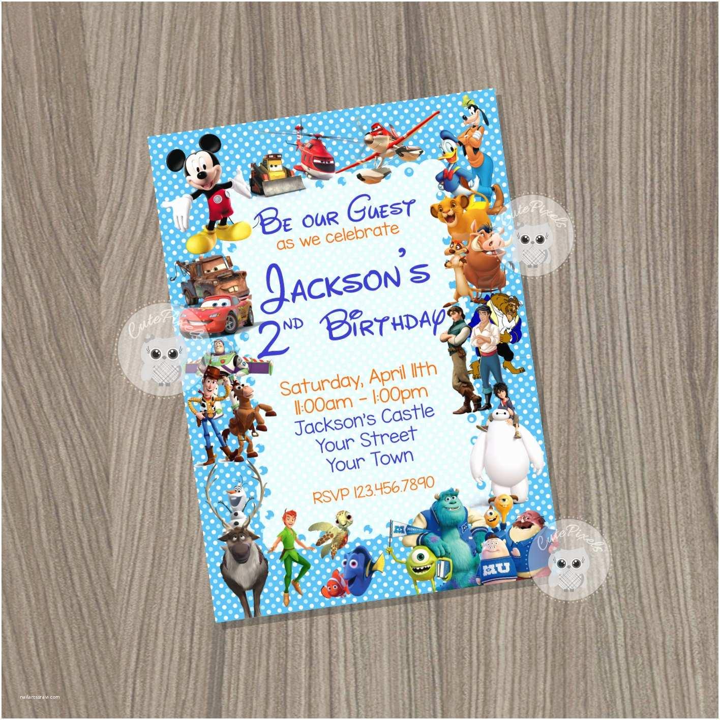 Disney Birthday Invitations Invitation Boy Characters