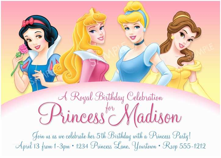 Disney Birthday Invitations Disney Princess Sample Invitation