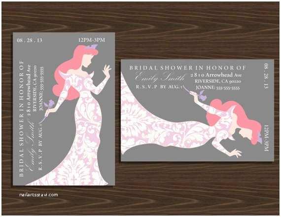 Disney Bridal Shower Invitations 4x6 Disney Princesses Silhouette Bridal Shower by Nhelydesigns