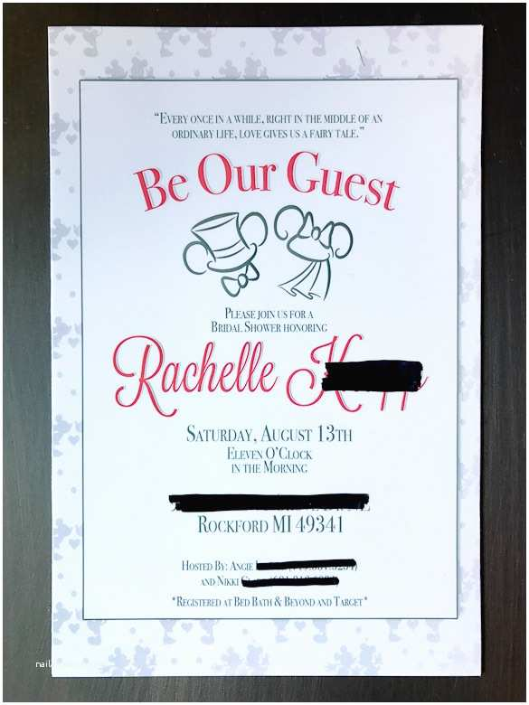 Disney Bridal Shower Invitations Disney Bridal Shower Party