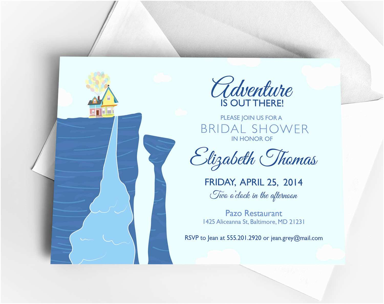Disney Bridal Shower Invitations Disney Up Bridal Shower Invitation or Baby Shower by