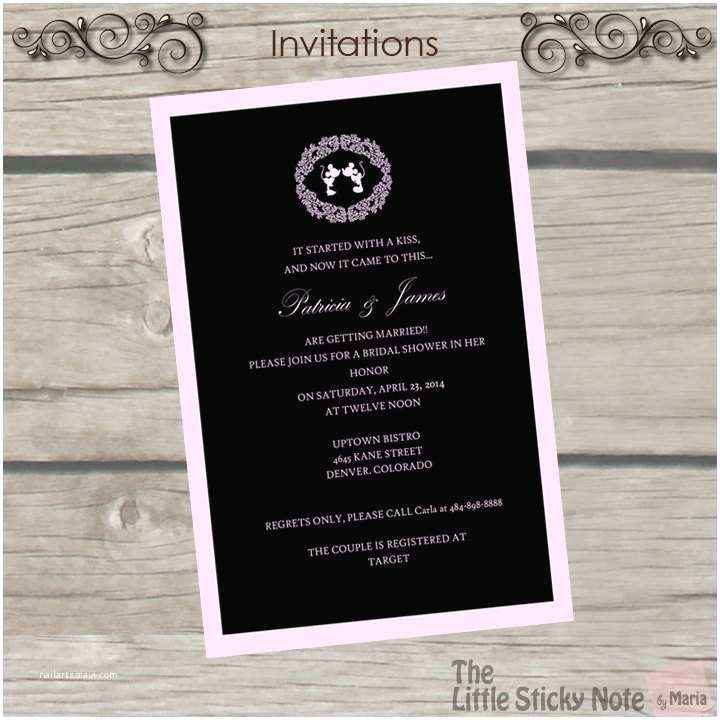 Disney Bridal Shower Invitations Items Similar to Disney themed Bridal Shower Invitations