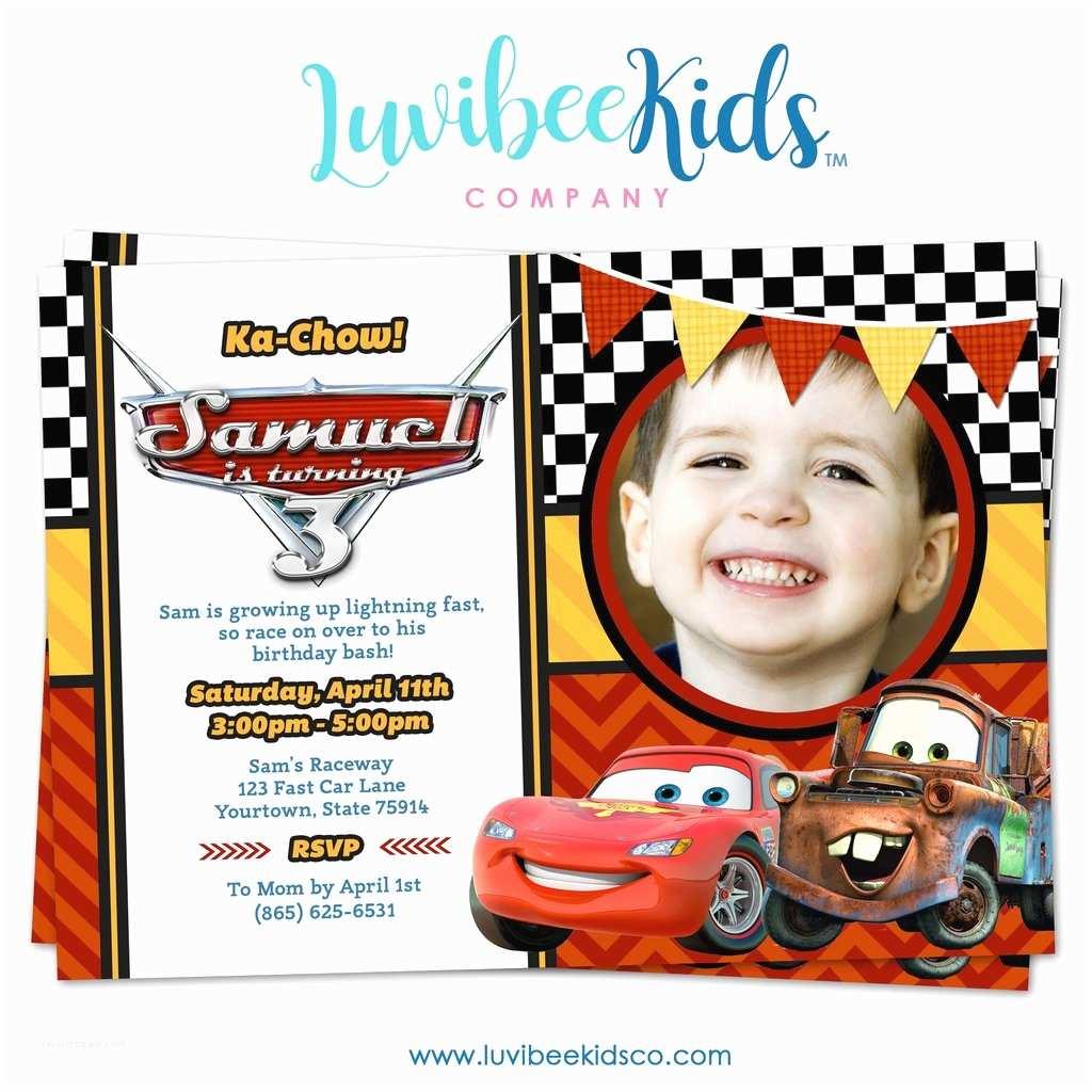 Disney Cars Birthday Invitations Cars Lightning Mcqueen Birthday Invitation with