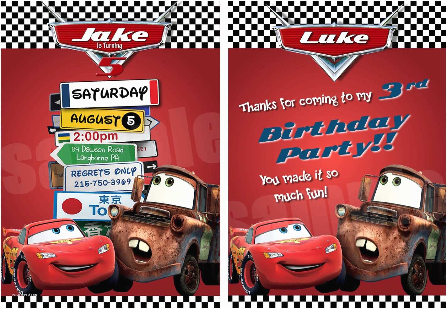 Disney Cars Birthday Invitations Disney Cars Birthday Invitation