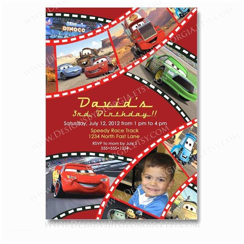 Disney Cars Birthday Invitations Disney Pixar Cars Birthday Invitation or Thank You Print Your