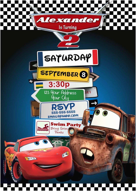 Disney Cars Birthday Invitations Pixar Lightning Mcqueen Mater Party