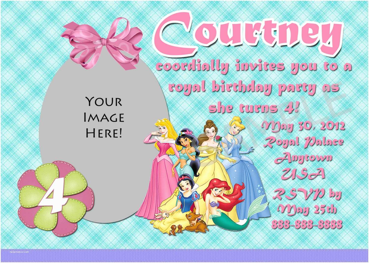 Disney Princess Birthday Invitations Disney Princess Birthday Invitation