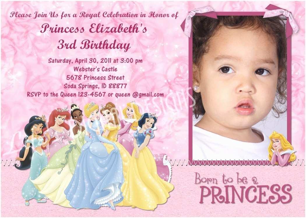 Disney Princess Birthday Invitations Disney Princess Birthday Invitation Option Customizable