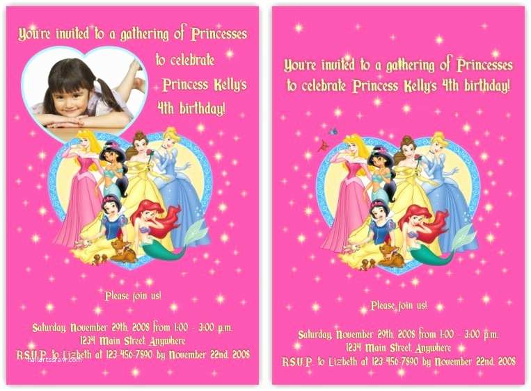 Disney Princess Birthday Invitations Disney Princess Birthday Invitations Template
