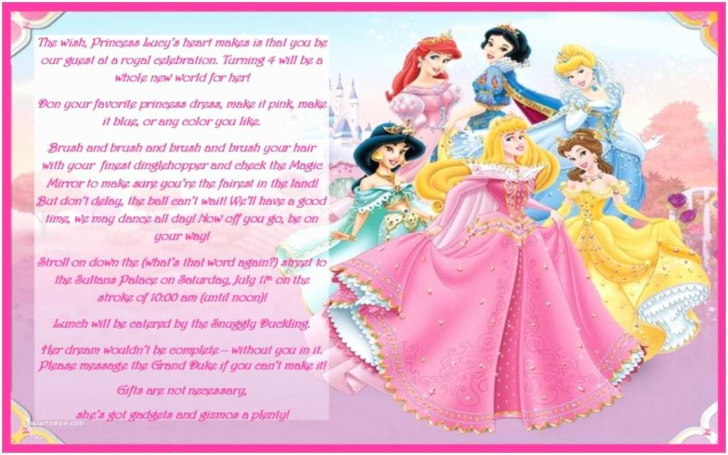 Disney Princess Birthday Invitations Disney Princess Birthday Party Ideas Invtations & Favors