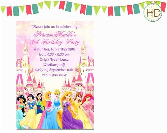 Disney Princess Birthday Invitations Disney Princess Invitation Disney Castle Birthday by