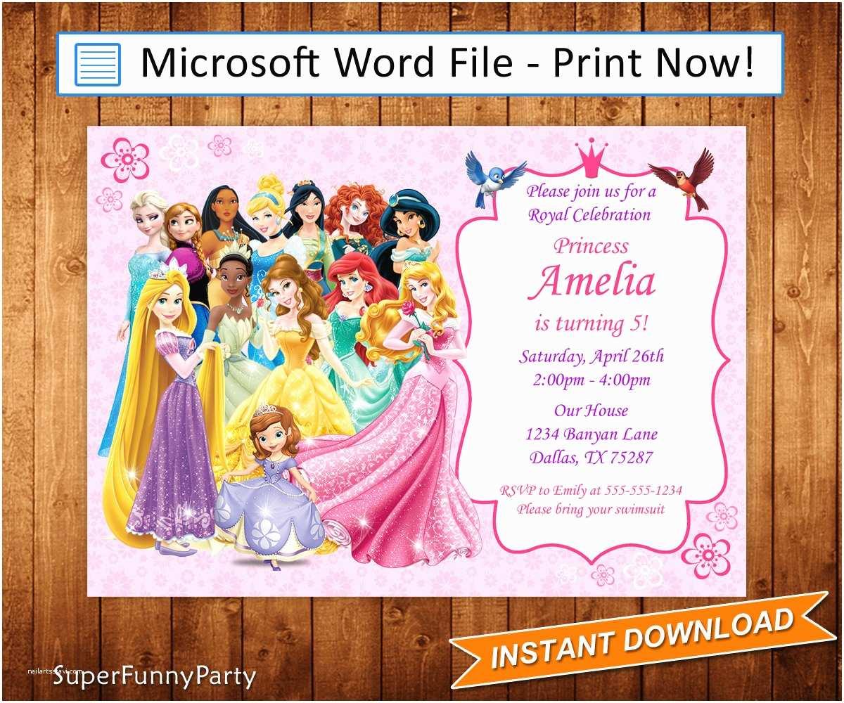 Disney Princess Birthday Invitations Disney Princess Invitation Disney Princess Birthday Invite
