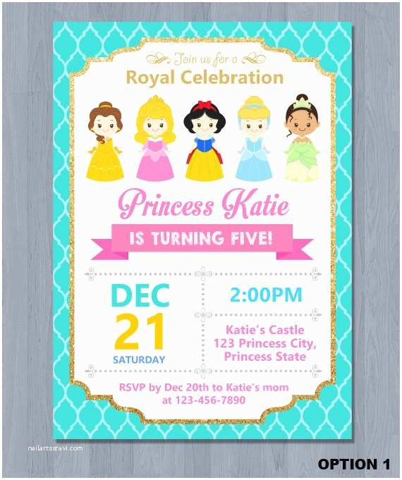 Disney Princess Birthday Invitations Disney Princess Invitation Disney Princess Birthday