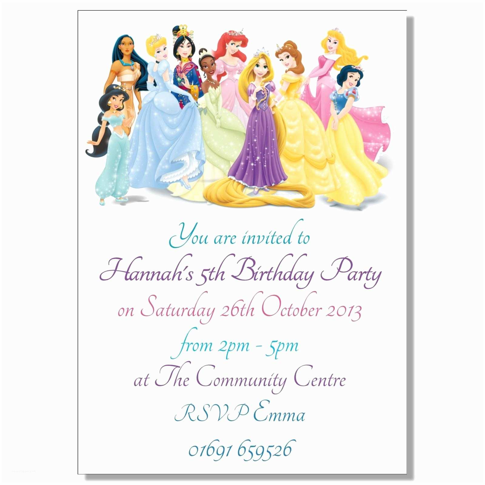 Disney Princess Birthday Invitations Disney Princess Party Invitations