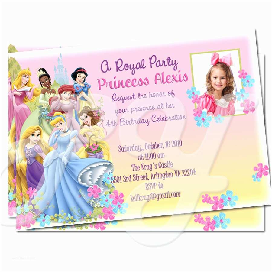 Disney Princess Birthday Invitations Disney Princess Personalized Invitations