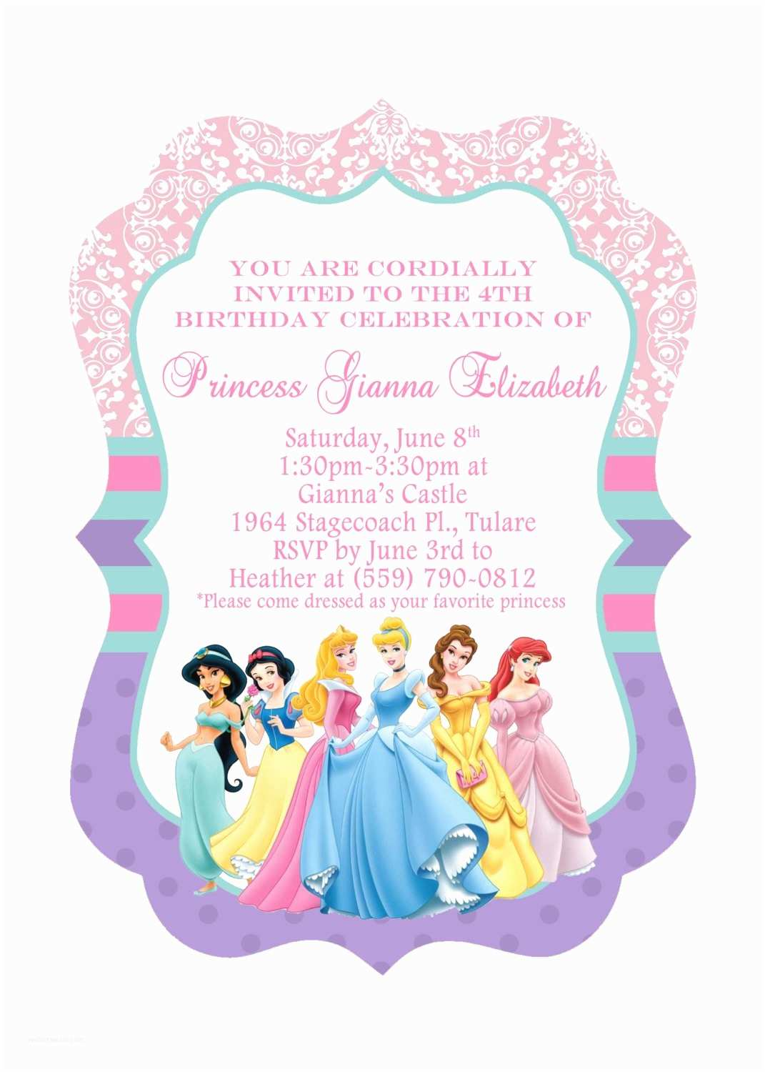 Disney Princess Birthday Invitations Disney Princesses Birthday Invitations Disney Princess