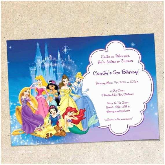 Disney Princess Birthday Invitations Disney Princesses Party Invitation Template Instant