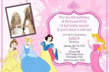 Disney Princess Birthday Invitations Party