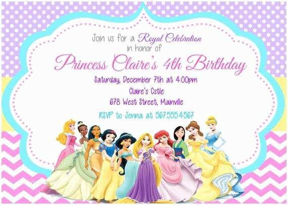 Disney Princess Birthday Invitations Princess Invitation Disney Princess Invitation