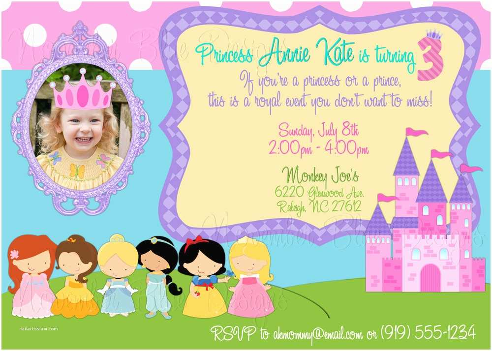 Disney Princess Party Invitations Princesses Custom Birthday Invitation