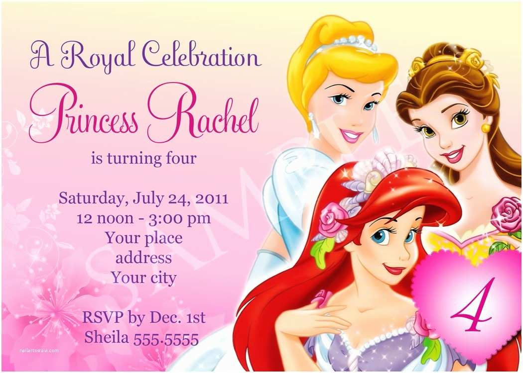 Disney Princess Party Invitations Free Birthday Invitation Templates
