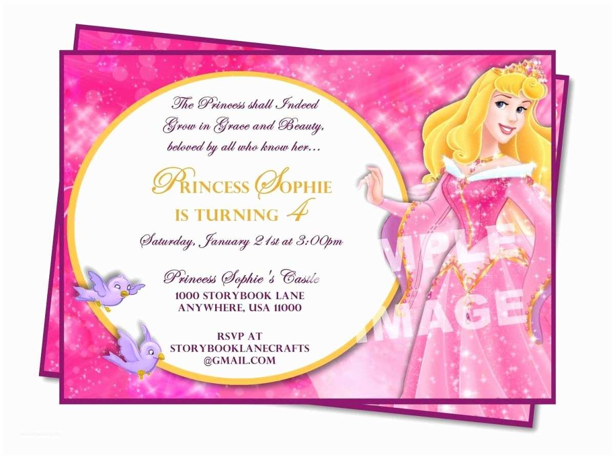 Disney Princess Party Invitations Sample Birthday Invitation Wording