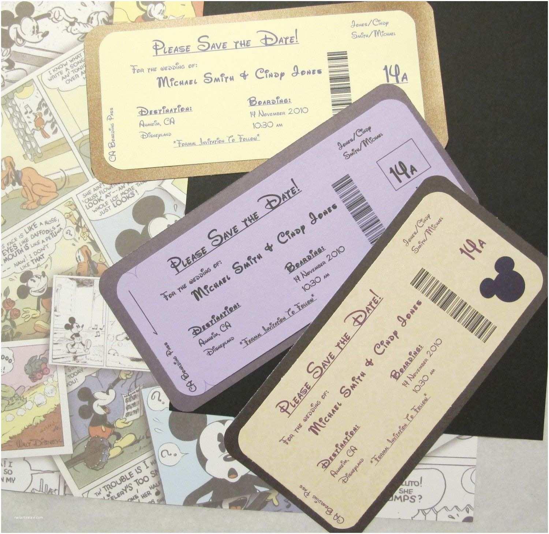 Disney themed Wedding Invitations Disney themed Save the Date Invite Boarding Pass