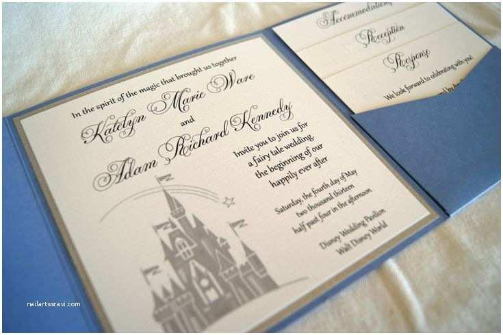 Disney themed Wedding Invitations Fairytale Castle Pocketfold Wedding Invitation Sample