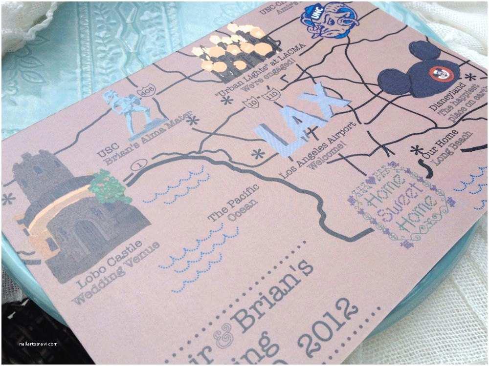 Disney themed Wedding Invitations Map Inspired Weddings Travel themed Wedding Invitations
