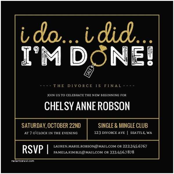 Divorce Party Invitations Gold I Do I Did I M Done Divorce Party Invitation