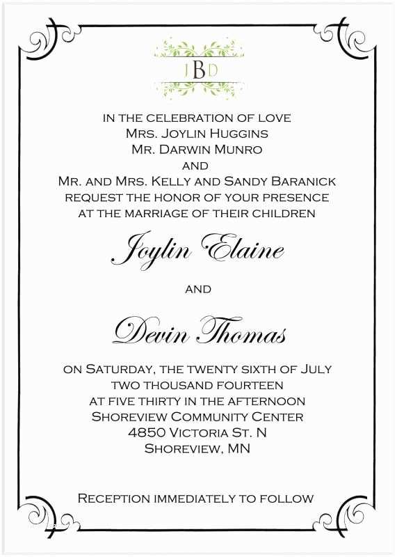 Divorced Parents Wedding Invitation Wedding Invitation  Wedding Invitation