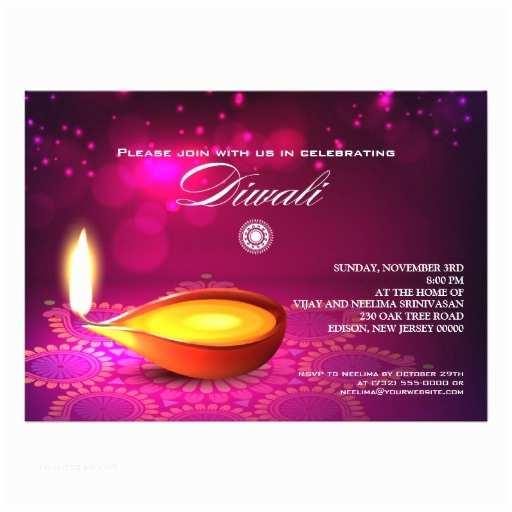 Diwali Party Invitation Bokeh Lights Diwali Lamp Party Personalized