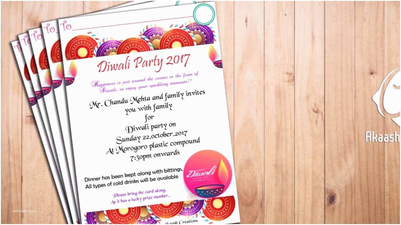 Diwali Party Invitation Designing Diwali Party 2017 Invitation