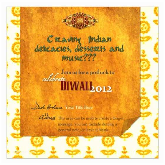Diwali Party Invitation Diwali Potluck Square Invitations & Cards On Pingg