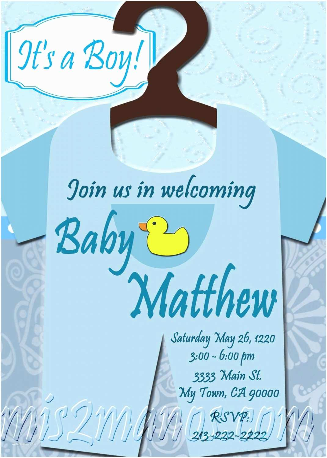 Diy Baby Shower Invitations Baby Shower Esie Invitations Printable Baby Boy Custom
