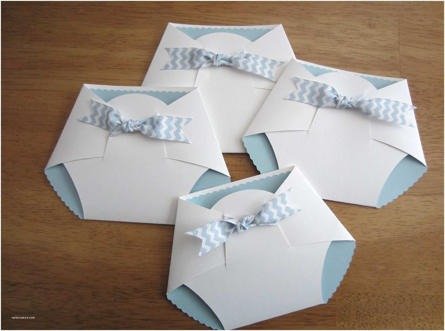Diy Baby Shower Invitations Handmade Baby Shower Invitation Diaper Shape W Chevron