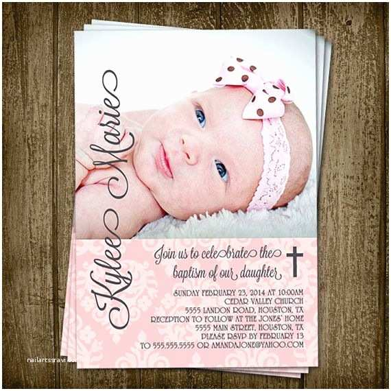 Diy Baptism Invitations Diy Printable 5x7 Demask Baby Girl Baptism Invitation with