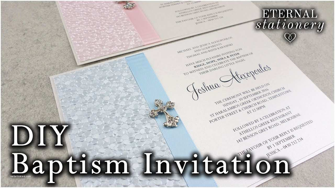 Diy Baptism Invitations Very Easy Diy Embossed Baptism Christening Invitation