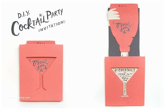 Diy Birthday Invitations Diy Cocktail Party Invitation Madame Bonbon