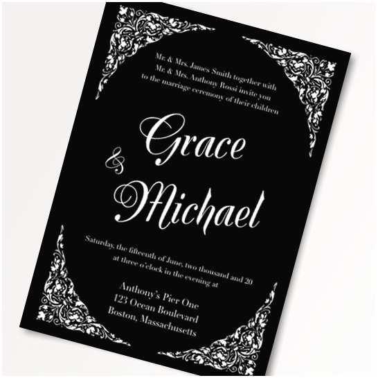 Diy Black and White Wedding Invitations Black and White Wedding Invitation Templates Diy Printable