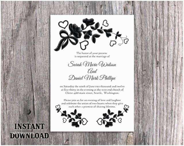 Diy Black and White Wedding Invitations Diy Lace Wedding Invitation Template Editable Word File