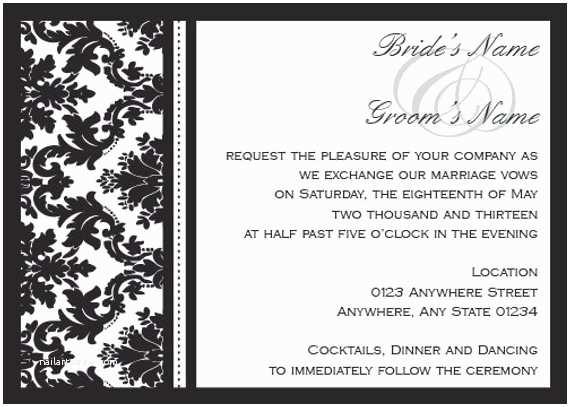 Diy Black and White Wedding Invitations Items Similar to Diy Black and White Damask Wedding