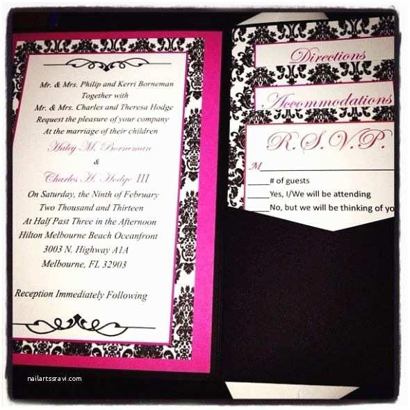 Diy Black and White Wedding Invitations My Diy Damask Pocketfold Invitiations Wedding Black