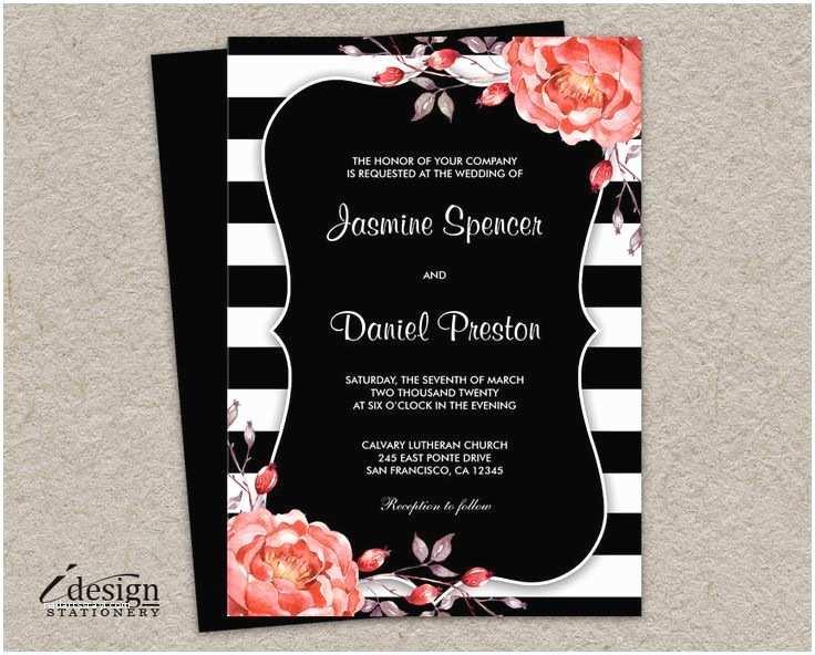 Diy Black and White Wedding Invitations Printable Black and White Stripe Wedding Invitation with