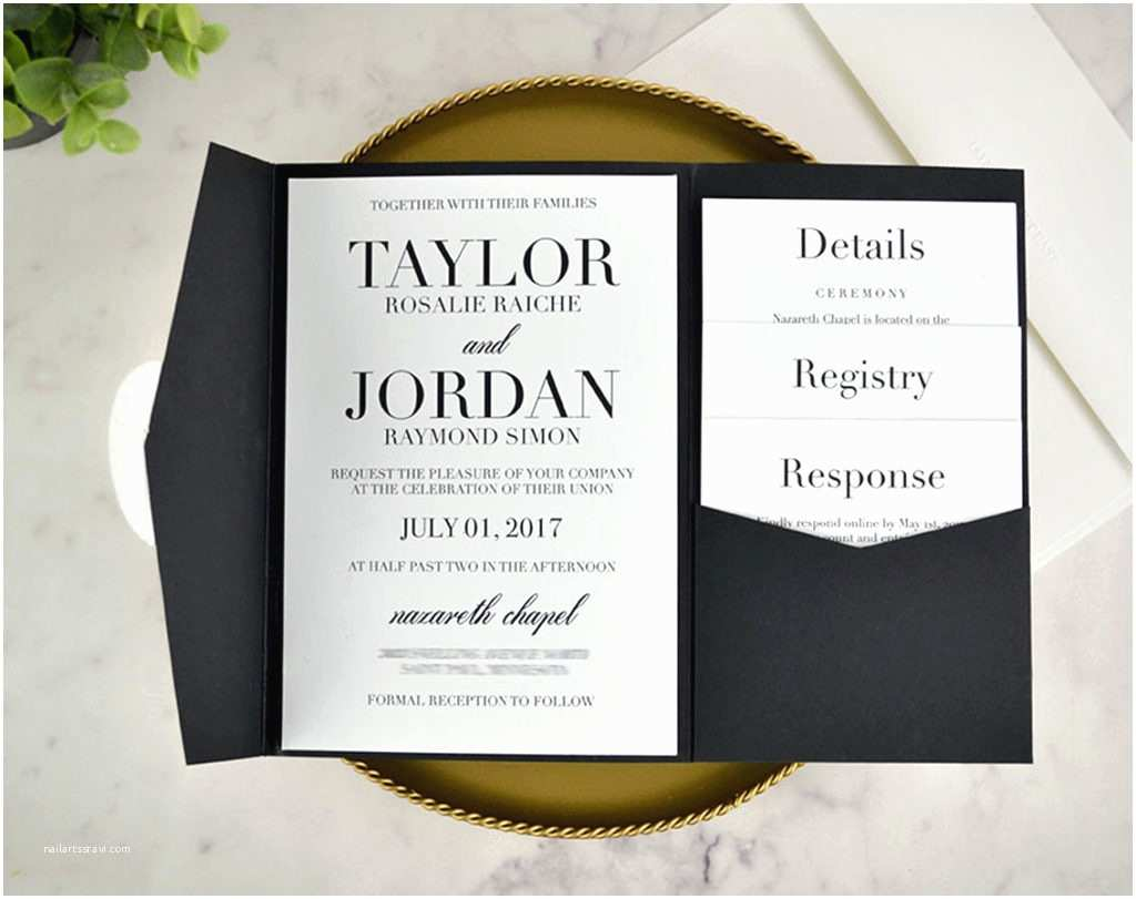 Diy Black and White Wedding Invitations Real Diy Wedding Invitation Classic Black & White Pocket