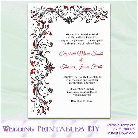 Diy Black and White Wedding Invitations Wedding Invitation Template Diy Printable Red Black and
