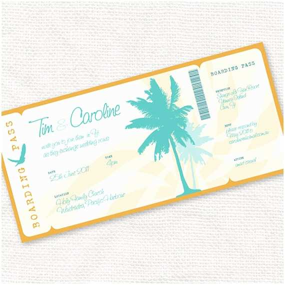 Diy Boarding Pass Wedding Invitations Beach Party Invitation Printable Diy Wedding Invitation