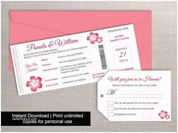 Diy Boarding Pass Wedding Invitations Diy Printable Wedding Boarding Pass Luggage Tag Template